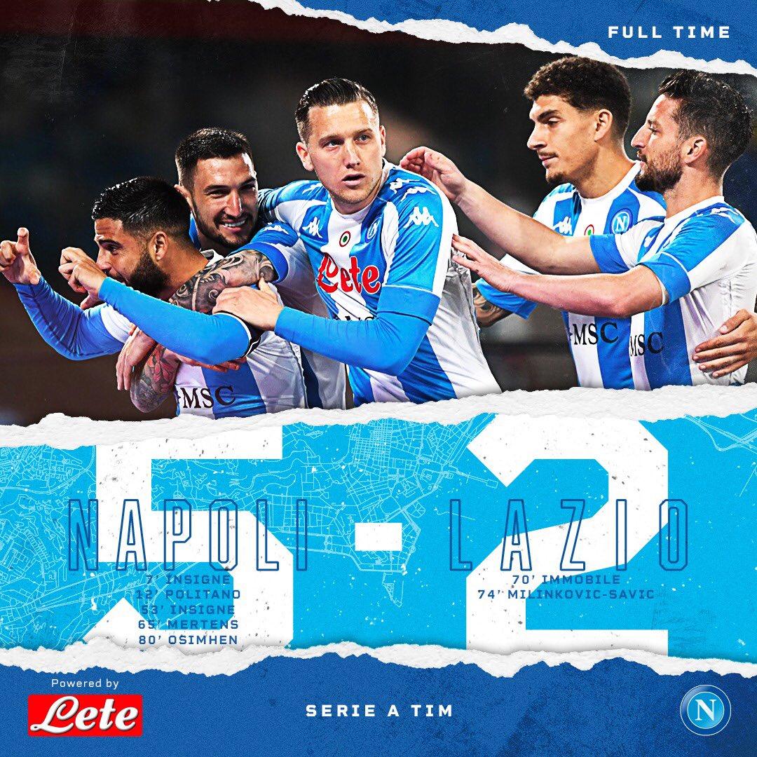 Hasil akhir Napoli 5-2 Lazio