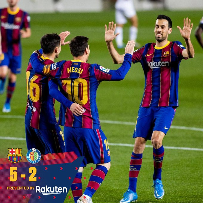 Skor akhir Barcelona 5-2 Getafe
