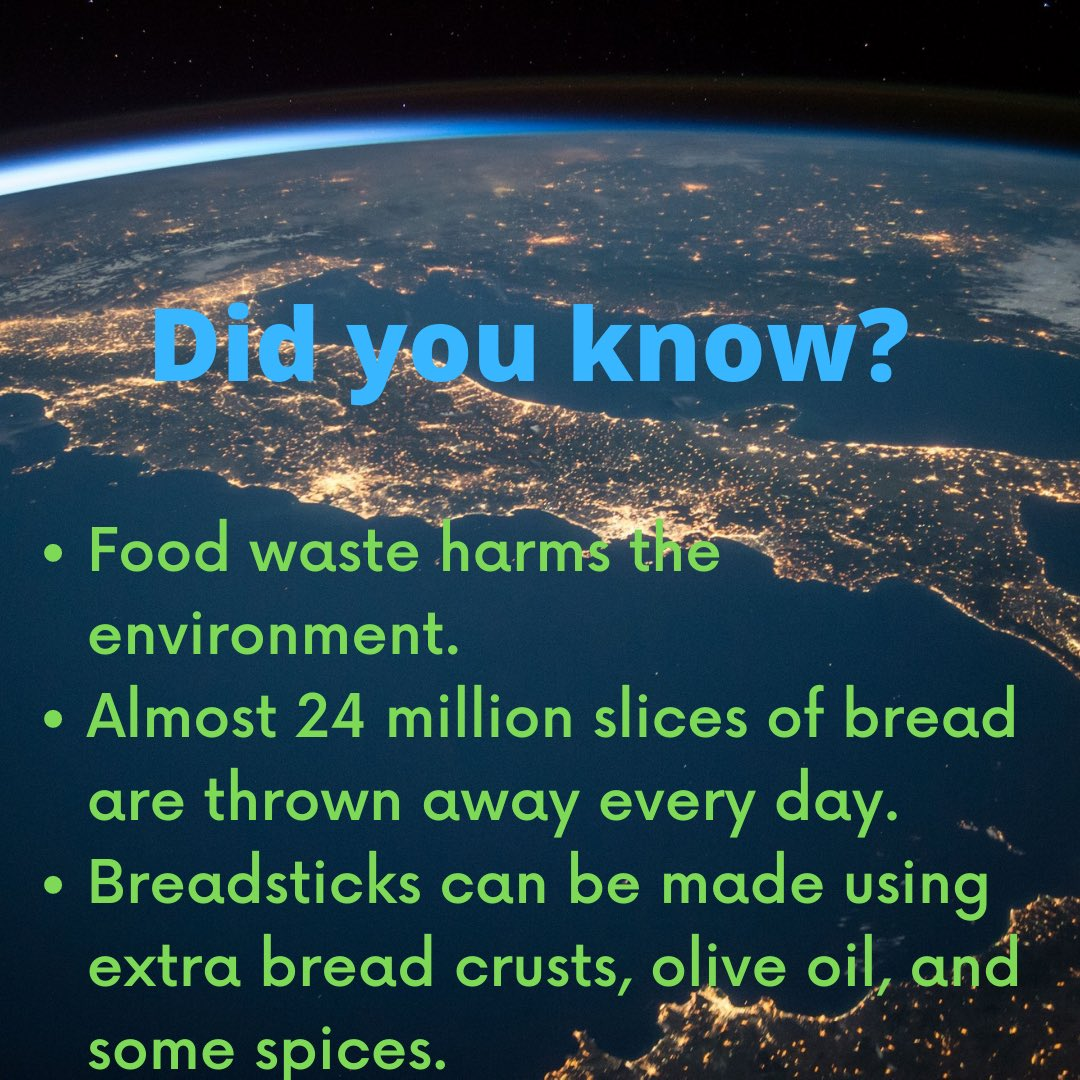It might not be much, but did you know with a little creativity you can make breadsticks out of what would have otherwise been food waste?  #earthday #earthday2021 #earth #environment #breadsticks #foodwaste #food #bread https://t.co/GJfO7Fzlo8