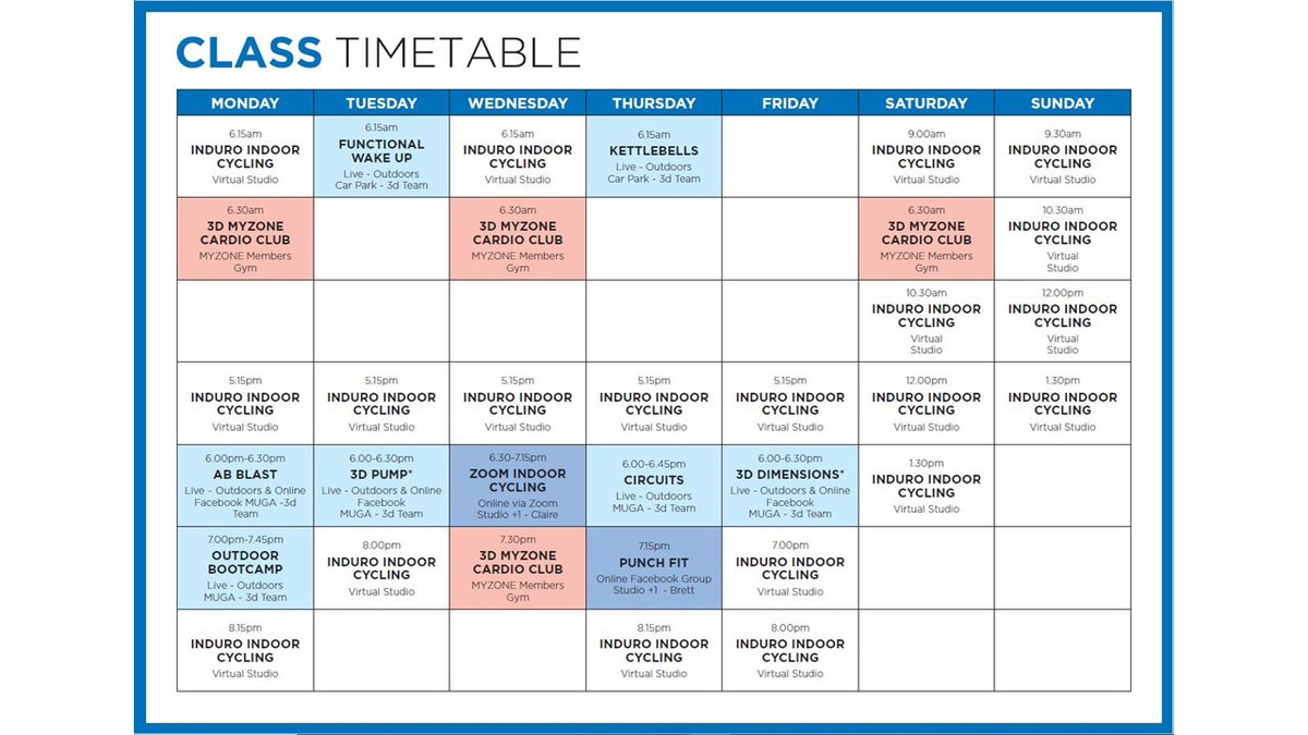 Our Latest Class timetable - something for everyone. #outdoors, #online, #myzone, #virtual  Book online for outdoor group exercise and cardio club Book 1 to 1 coaching and virtual indoor cysling via reception  #fitness #classes #weyvalley #weymouth https://t.co/hIfRLdUlr7