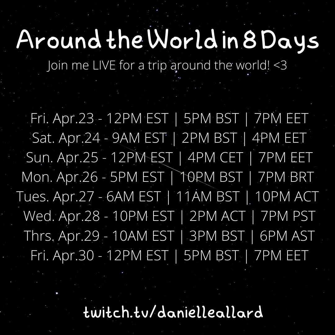 We're doing it again! Around the world in 8 days!  A lot of #friends around the #world stay up late for my #music #streams so this week I'm doing the same for them. It's the perfect chance to see me perform online for the first time! Pick a day & join me?  https://t.co/bLFkuC4XgW https://t.co/uwX5V34hv5