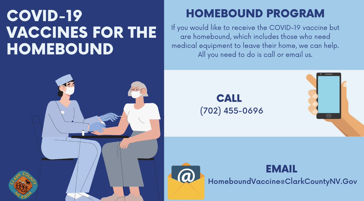 If you are homebound, are 18 years of age or older, and would like to receive the #COVID19 vaccine, we can help!    ☎️ To make an appointment, call (702) 455-0696 or email homeboundvaccine@clarkcountynv.gov.   ⏰ The call center is open from 8 am - 4:30 pm seven days/week. https://t.co/2WNZ9W2NGd