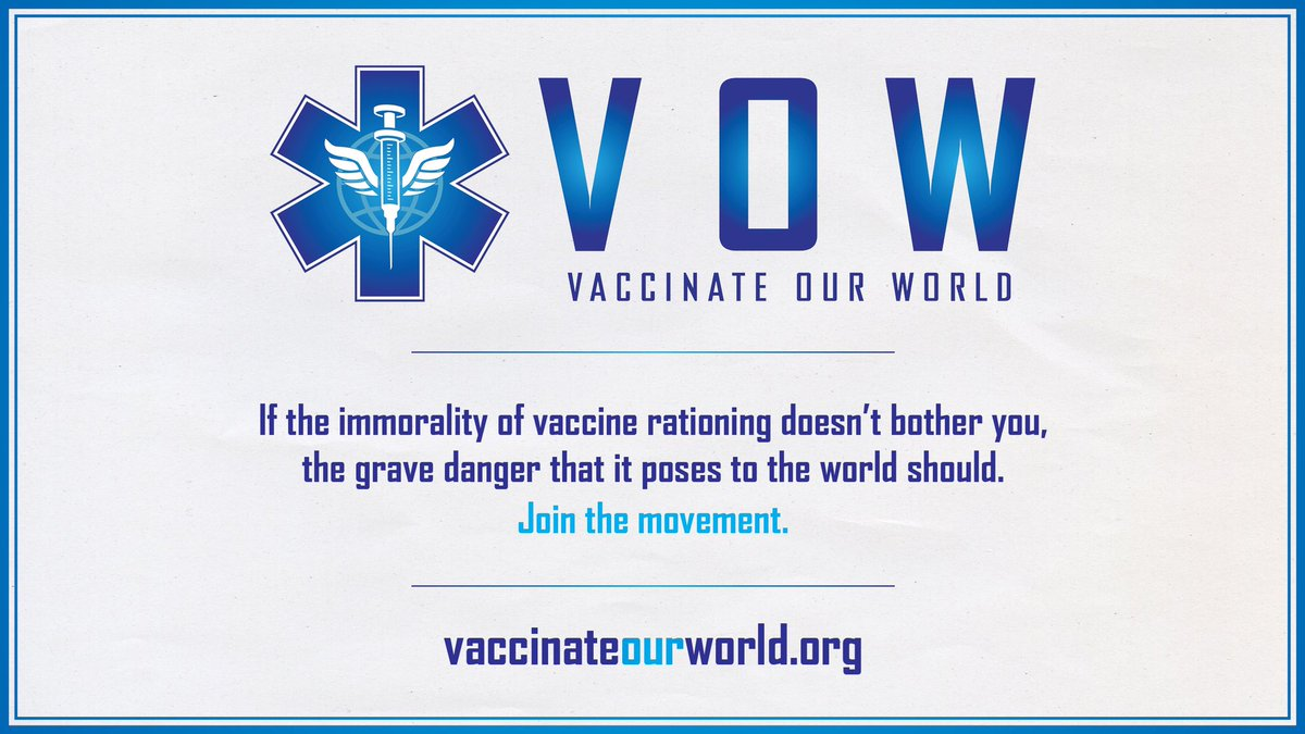 rationing doesn't bother you, the grave danger that it poses to the world should. The world must VOW to #VaccinateOurWorld and knock down all barriers to equitable #COVID19 vaccine access. Visit https://t.co/ryqOsgI0U8 to #VOWnow! #VOWnow https://t.co/I33TcogaoI