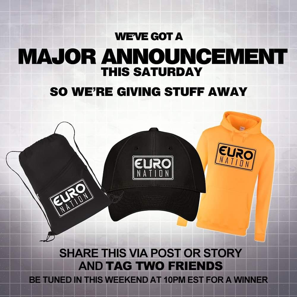 WE'RE MAKING A HUGEEEEEE ANNOUNCEMENT THIS WEEKEND! And we want to get you rocking our apparel. So simply share this via story or post and tag two friends. We will then choose a winner this weekend on our broadcast. Better be tuned in to hear your name.#contest #euronation #radio https://t.co/L1SUjewZ44