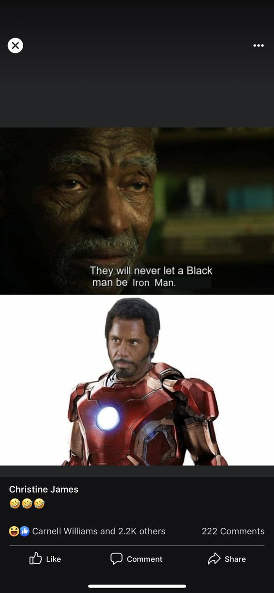 Facebook never fails to entertain 😂😂😂#ironman #blackironman #marvel #funny #jokes https://t.co/sYXfMm13Bs