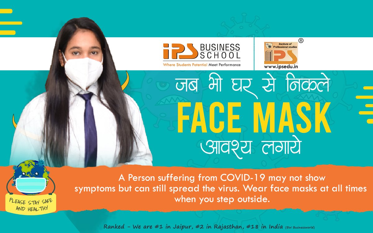 A Person suffering from #COVID19 may not show #Symptoms but can still #spread the #virus. Wear #FashMasks at all times when you step #outside.  #besafe #staysafe #stayclean #stayhome #StayHealthy  #IPS_BUSINESS_SCHOOL #IPS_College