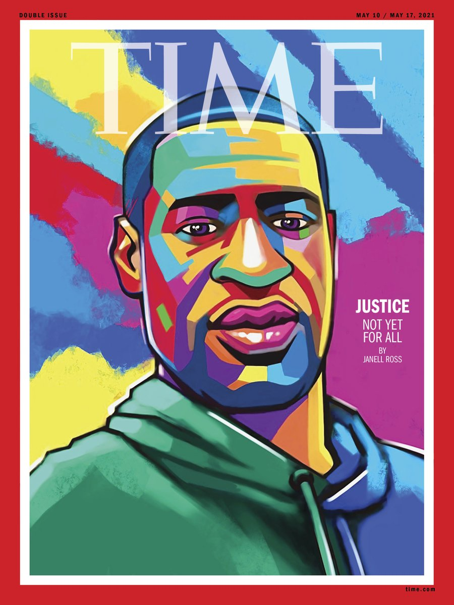 """Moments after the verdict in the George Floyd trial, artist @AngeHillz started painting, creating the portrait for this week's @TIME cover. """"My choice was to use a lot of color to represent all of the colors of people who supported this outcome."""" Read more https://t.co/4Zn0paYAId https://t.co/s4WBbjTzzd"""