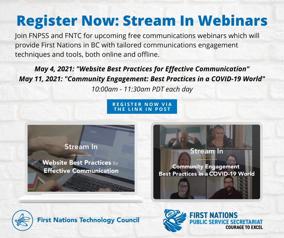 "Don't miss out on next Tuesday's free Communications webinar with @FN_TechCouncil entitled ""Website Best Practices for Effective Communication""! All are welcome.  Register here: https://t.co/azLOFMMPxA #JoinUS #FirstNations #BC #Online #FreeEvent"