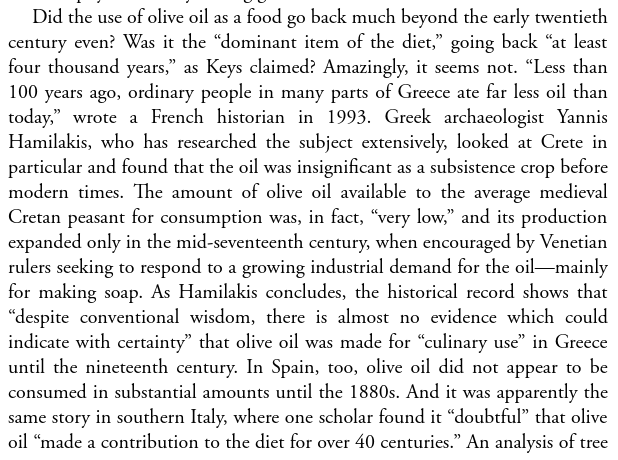 The idea that Mediterraneans based their diet on olive oil is a scam promoted by Harvard & their industrial junk sponsors, to help sell high margin industrial plant oils, as detailed in the excellent  @bigfatsurprise: