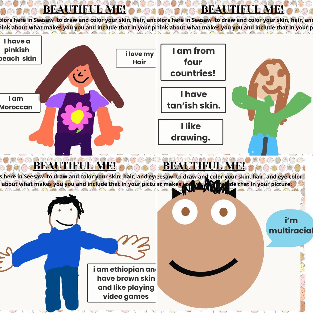 Students in grades K-2 have been talking about and exploring their own racial, ethnic, and cultural identities. We are using this awesome activity from <a target='_blank' href='http://twitter.com/Seesaw'>@Seesaw</a> along with a video from <a target='_blank' href='http://search.twitter.com/search?q=ComingTogether'><a target='_blank' href='https://twitter.com/hashtag/ComingTogether?src=hash'>#ComingTogether</a></a> with Wes. <a target='_blank' href='http://twitter.com/longbranch_es'>@longbranch_es</a> <a target='_blank' href='https://t.co/F8BvczbOEi'>https://t.co/F8BvczbOEi</a> <a target='_blank' href='https://t.co/e5iGA0NWXe'>https://t.co/e5iGA0NWXe</a>