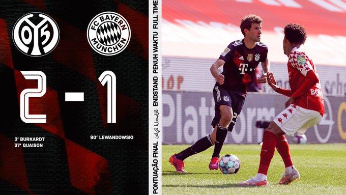 Skor akhir Mainz 2-1 Bayern Munchen