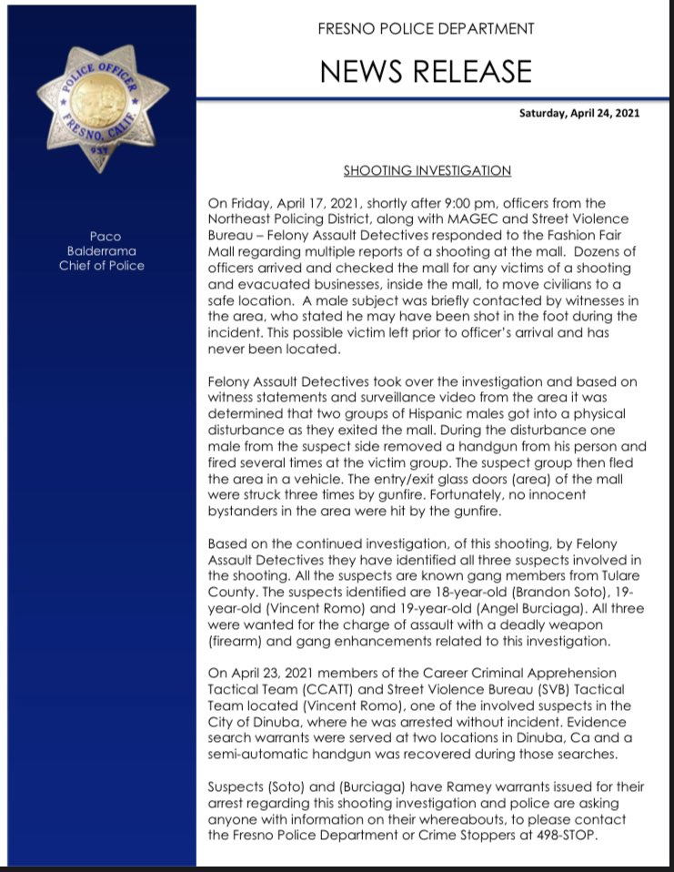 Fresno Police On Twitter Please See The News Release Regarding The Arrest Of 1 Out Of 3 Suspects In The Fashion Fair Mall Shooting On April 17 2021 Https T Co Lgvsymxmom