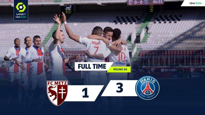 Skor akhir Metz 1-3 PSG