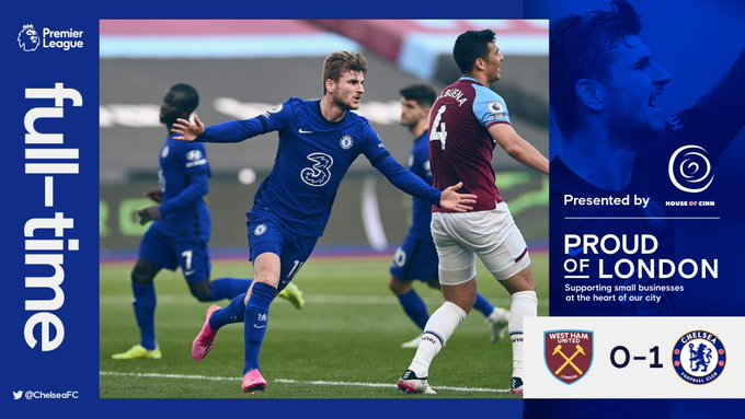 Skor akhir West Ham United 0-1 Chelsea