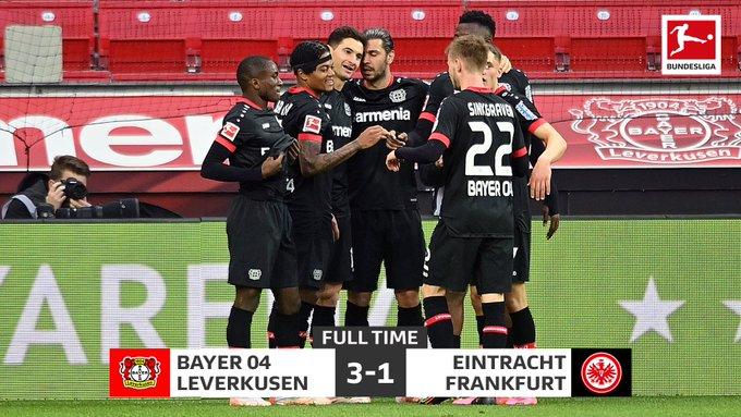Skor akhir Bayer Leverkusen 3-1 Eintracht Frankfurt
