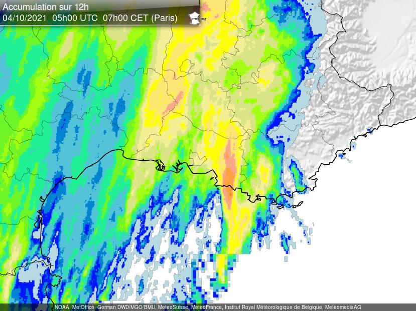 Nuit fortement arrosée sur #Marseille et le nord-est des Bouches-du-Rhône avec ligne orageuse très pluvieuse donnant 130 à 160 mm de pluie. De nouveaux #orages sont attendus ce lundi. Lame d'eau radar @infoclimat