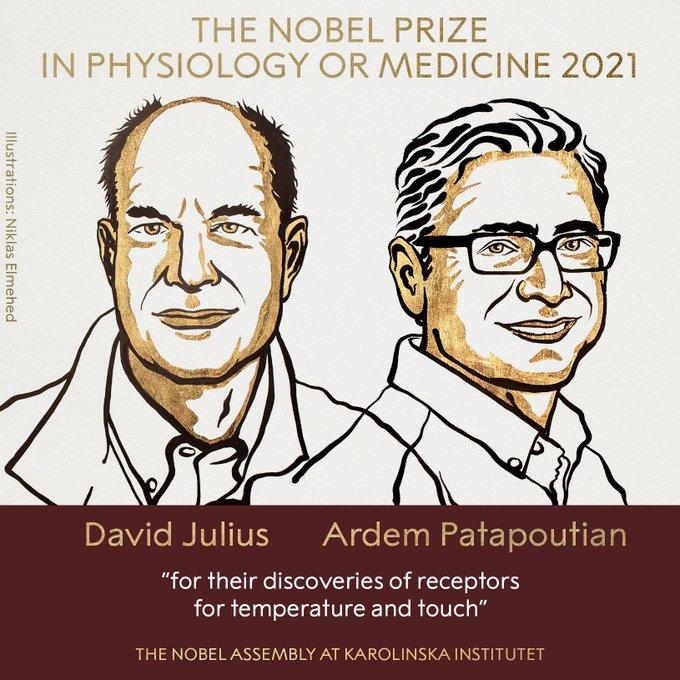 David Julius, Ardem Patapoutian win 2021 Nobel Prize in Medicine
