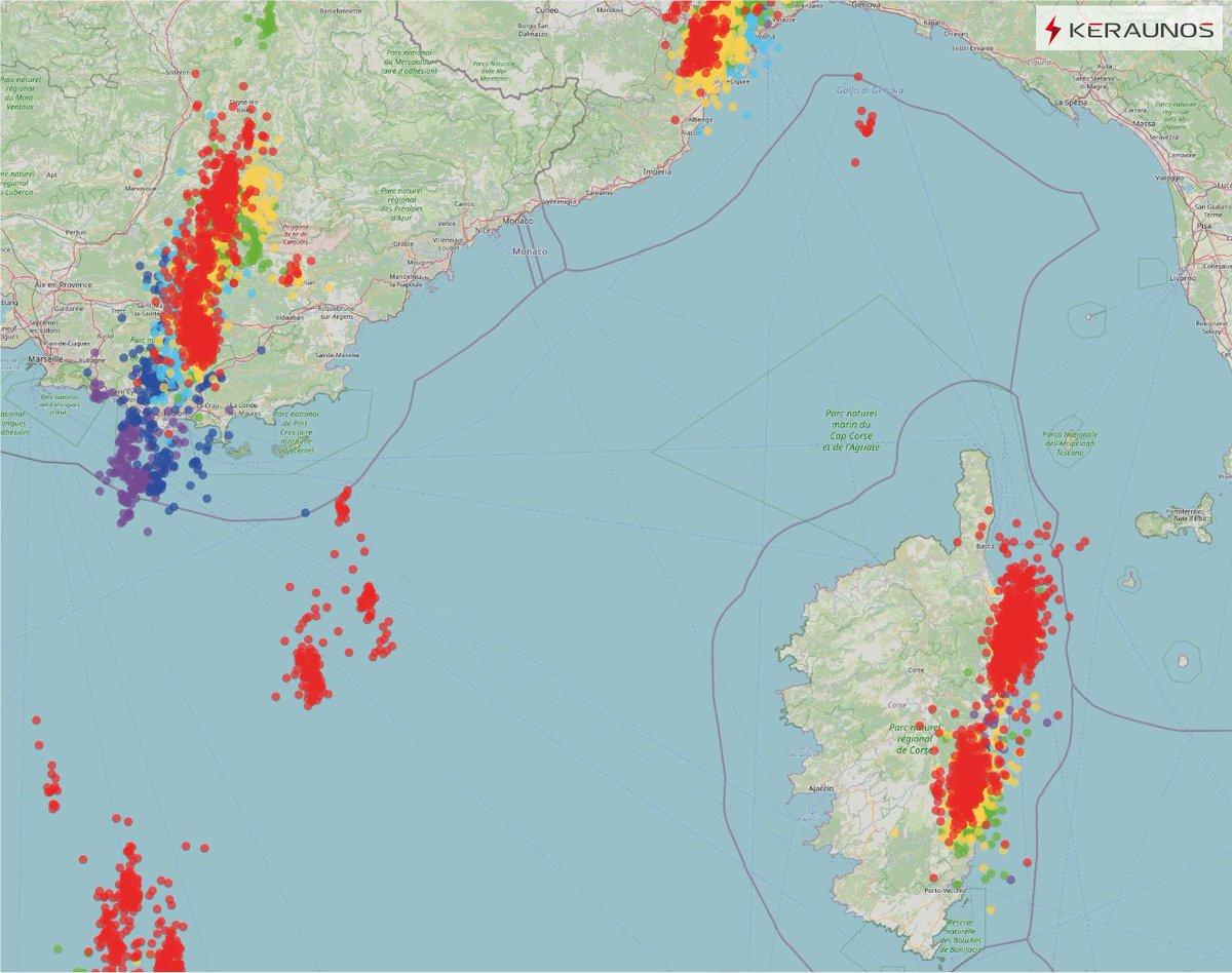 Forts #orages depuis ce matin dans le centre-ouest du #Var et sur la façade orientale de la #Corse avec des cumuls horaires de 40 à 60 mm.