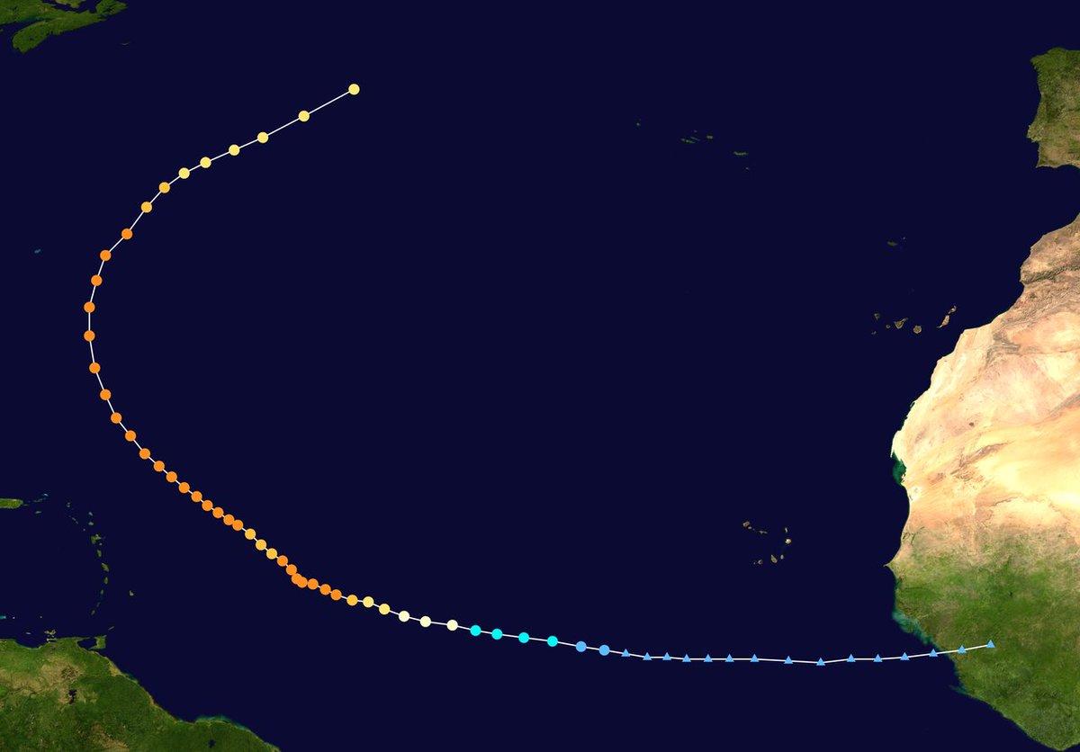 L'ouragan #Sam est en transition extratropicale. Il aura persisté 11 jours au stade d'ouragan et prend la 6ème position au niveau de l'énergie cyclonique accumulée (ACE), toutes saisons confondus, depuis le début de l'ère satellite en 1966.