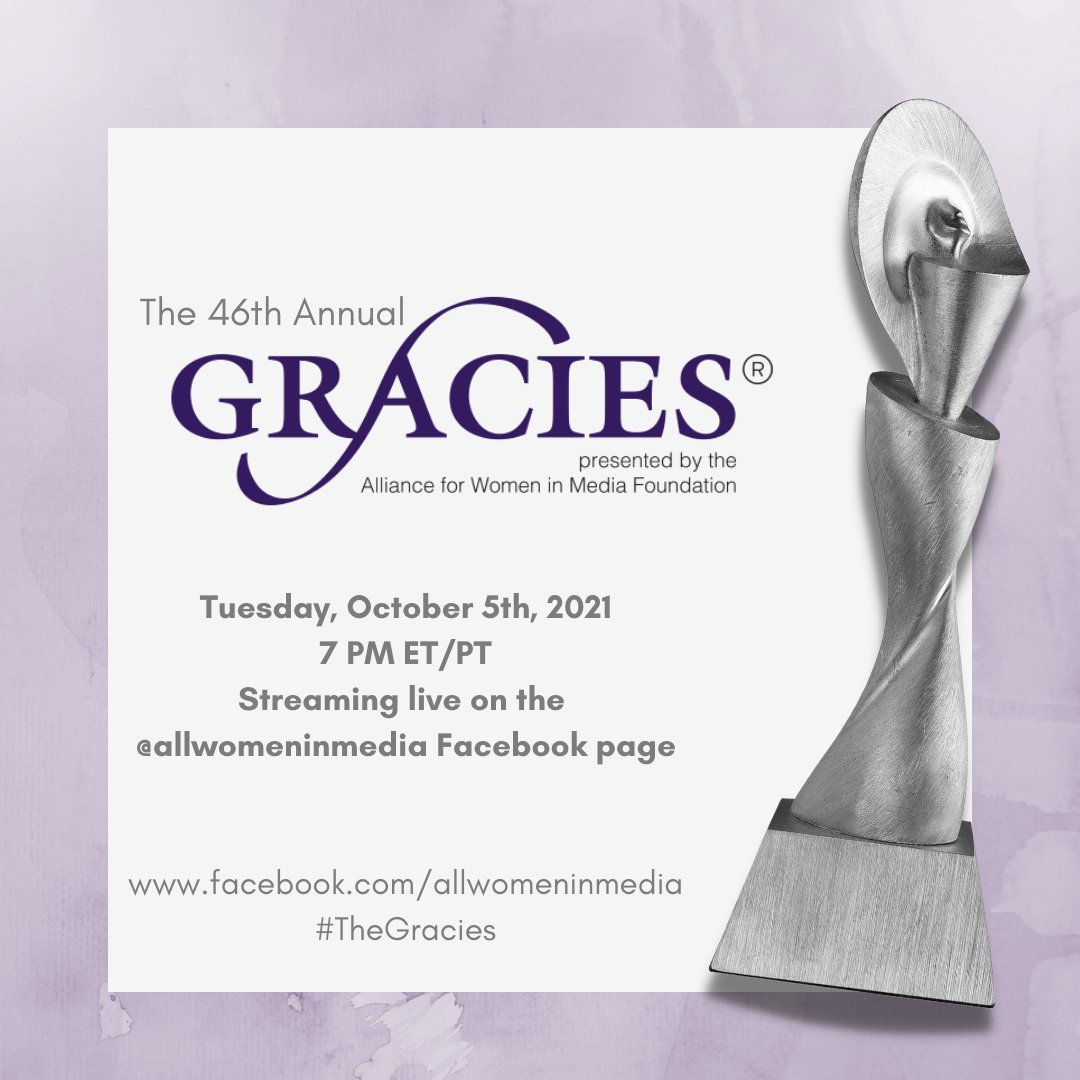 I won a Gracie! ✨  I'm so honored to be recognized at @allwomeninmedia's 46th Annual Gracie Awards. Tune into the virtual event tonight at 7PM ET/PT on Facebook! #TheGracies bit.ly/46thGracies