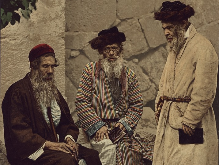 صورة ملونة ليهود في أورشليم تعود إلى أواخر القرن التاسع عشر. @NLIsrael …