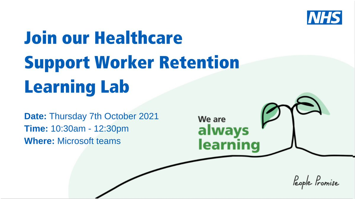 Join our national retention team for their 4th learning lab session aimed at retaining our fantastic #HCSWs. Open to all working to retain #OurNHSPeople, this session will focus on morale. Sign up here: events.england.nhs.uk/events/healthc… #LookingAfterOurNHSPeople