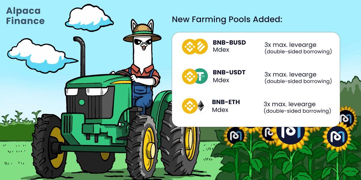 Three more @Mdexswap leveraged yield farming pools just went live! 🥳🥳 🚀BNB-BUSD (3x) up to 162% APY 🤯 🚀BNB-USDT (3x) up to 80% APY 📈 🚀BNB-ETH (3x) up to 24% APY 👩🌾 #BSC #BNB $ALPACA #BinanceSmartChain #YieldFarming #Binance