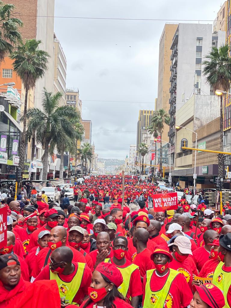 Our members in Durban reject 4.4%! We demand a #LivingWage TODAY