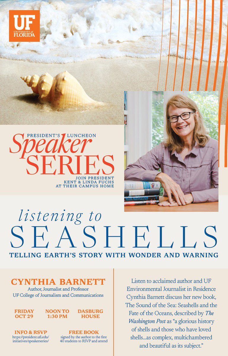 """Join Journalism professor @cynthiabarnett for her discussion about her new book """"The Sound of the Sea"""" and about environmental journalism as part of @PresidentFuchs Speakers Series for students on Oct. 29. RSVP starting tomorrow. Seating is limited."""
