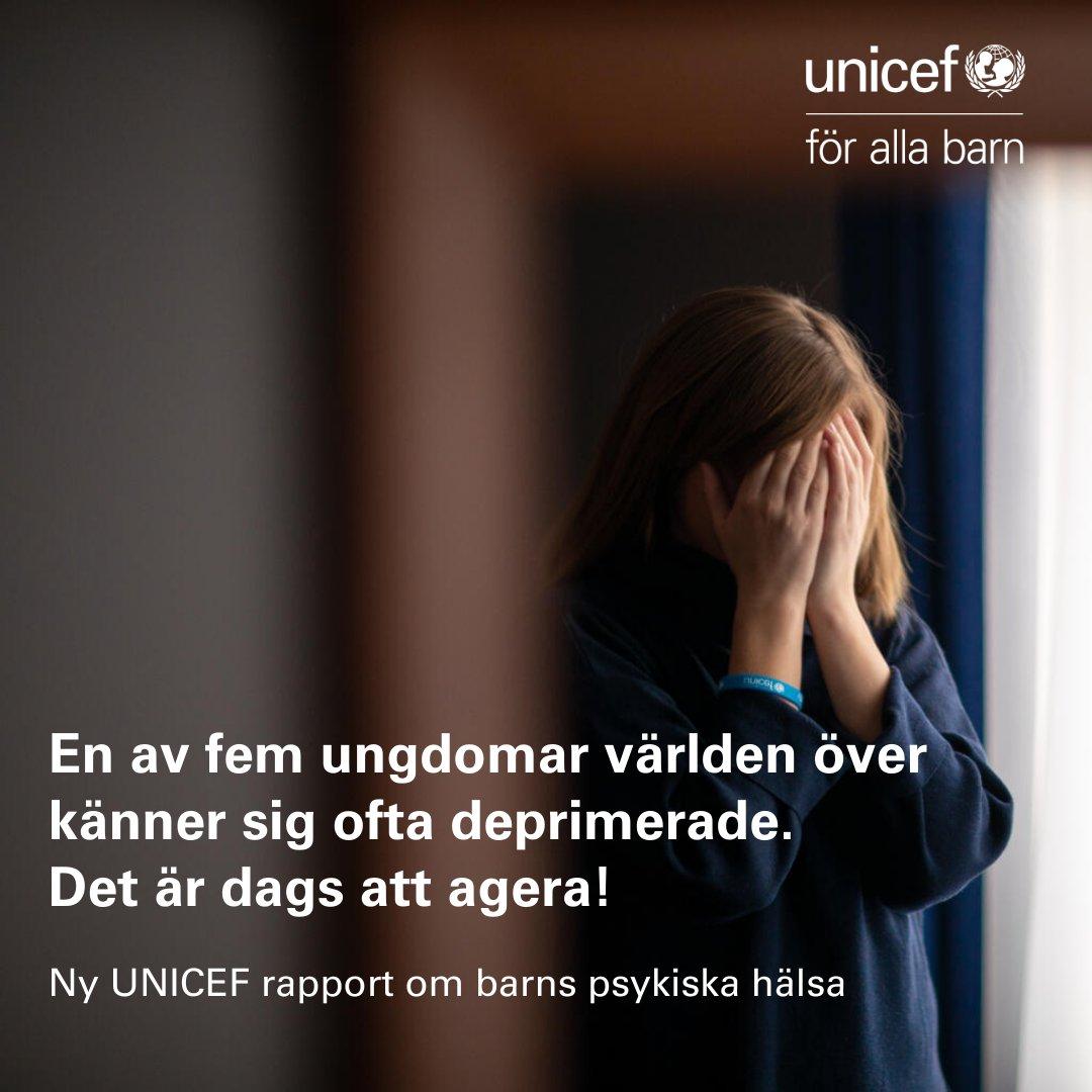 UNICEFs nya rapport visar att #COVID19 pandemin har slagit hårt mot barns och ungas psykiska hälsa. Vi behöver bryta tystnaden, lyssna på barnen - och agera. Läs rapporten #OnMyMind https://t.co/fujwpa1hjN https://t.co/IpLJcoAJeQ