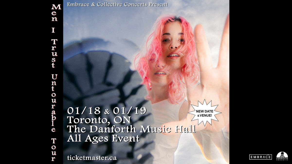 SHOW UPDATE: Indie-pop band @menitrust are moving their Untourable tour to @TheDanforthMH on Jan 18 and 19. Previously purchased tickets will be valid at the new venue and a new batch of tickets is on sale at 12pm. Jan 18: bit.ly/3msEsMQ Jan 19: bit.ly/3lcDftr