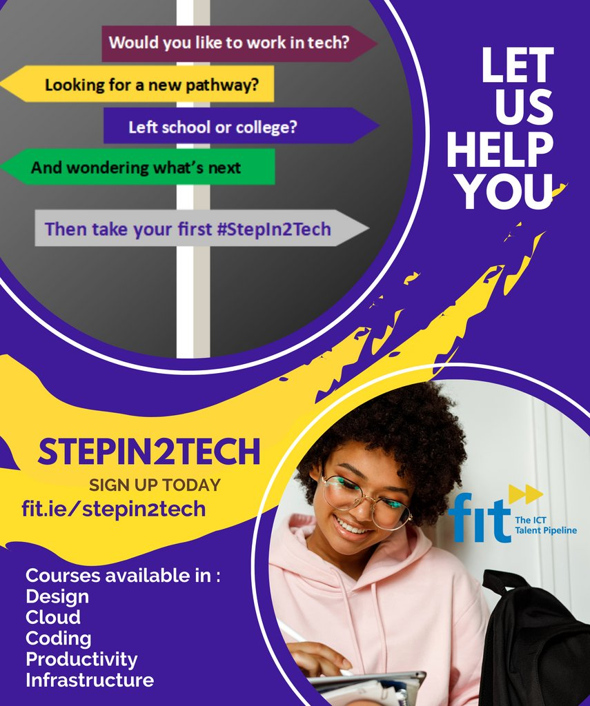 Would you like to work in Tech? Check out the Microsoft StepIn2Tech Program online. StepIn2Tech is a digital skills training programme developed by Microsoft Ireland, in partnership with FIT. It's free and easily accessible online at https://t.co/ZVXX3h4tDD