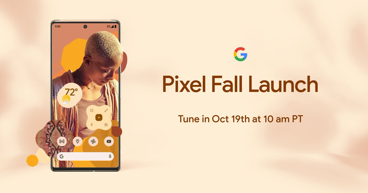 #Pixel6, the new Google Phone. Tune in October 19th at 10 am PT: goo.gle/3BfG4Qf #Pixel6Launch