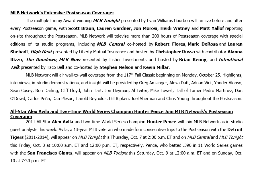 .@MLBNetwork will have extensive pre- and postgame coverage before and after every Postseason game, plus Alex Avila and @hunterpence join as guest analysts this Thursday-Sunday