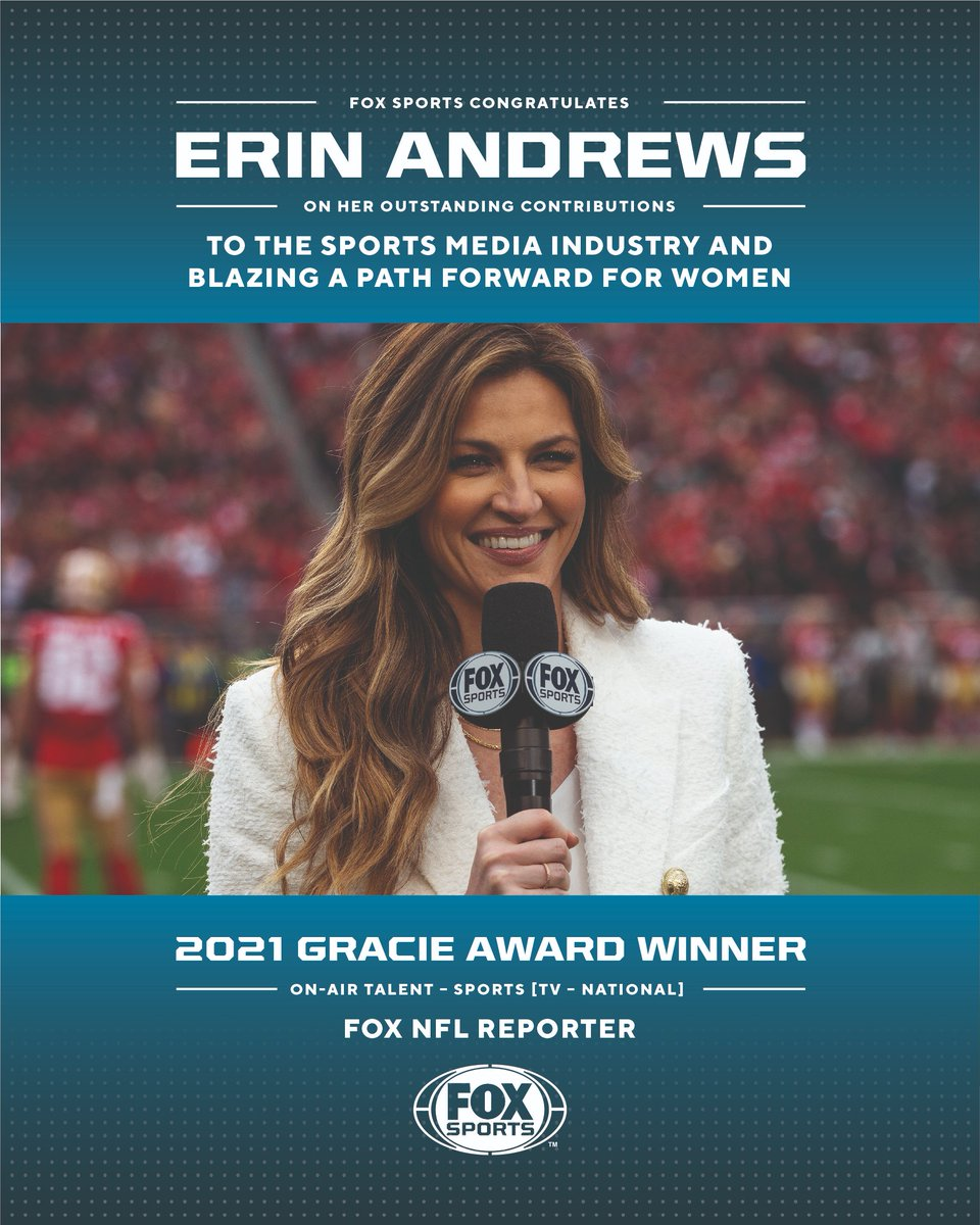 FOX Sports reporter @ErinAndrews will be honored tonight during @allwomeninmedia's 46th Annual Gracie Awards. 🎉   Stream #TheGracies live tonight at 7:00 PM ET: bit.ly/46thGracies
