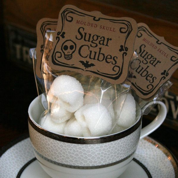 Skull chocolate and sugar cubes for spooky tea parties