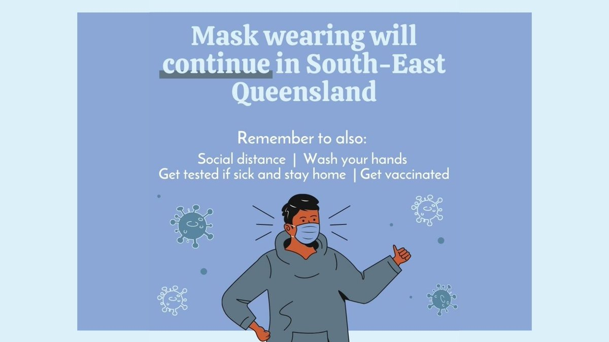 📢 Mask wearing will be extended to Fri 8 Oct in SEQ. 😷 You must wear a face mask at all times in indoor spaces when standingand outdoors when you can't social distance. Masks can be removed while seated at work or school, and in venues. Full details: qld.gov.au/health/conditi…