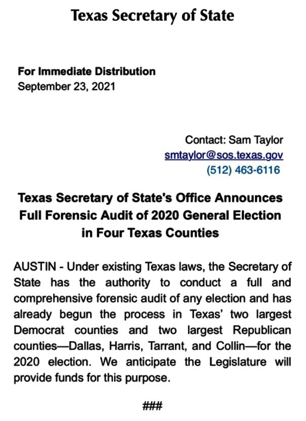 Earlier today, there was a tweet about 45 asking Abbott to audit our elections and pass a law doing that. The interim Governor- appointed TX Secretary of State has decided to do it themselves and are asking the Texas legislature to spend your tax dollars to pay for it. https://t.co/p6G4cyCXiT