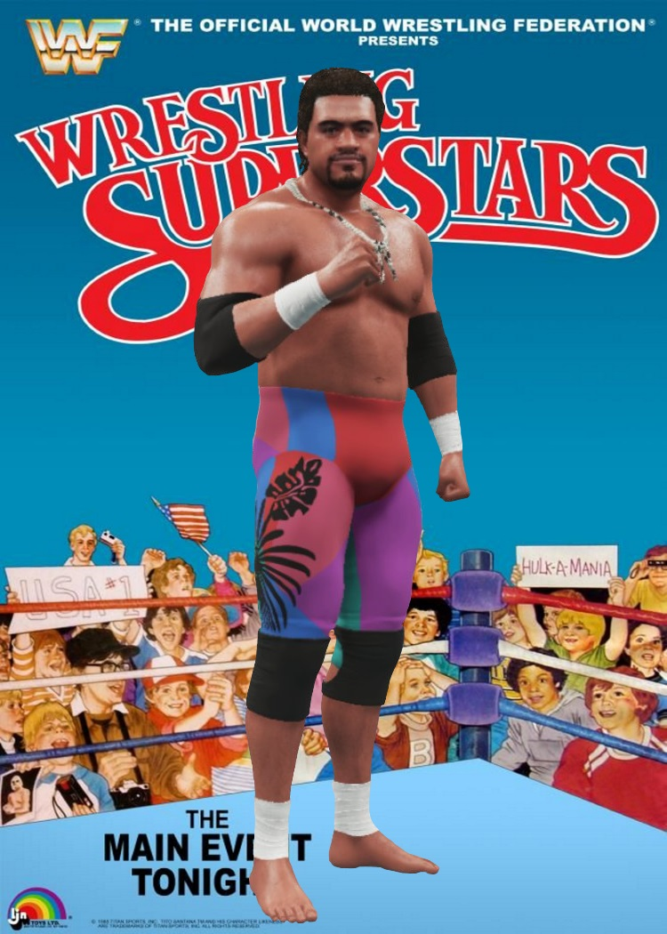 PREVIEW Pack 9 - 7. This next preview was in a fav movie of mine 1986 Body Slam w/Roddy Piper and is one half of The Islanders it's Tama. He has 3 attires. Attire 1 is multi color tights. Attire 2 holds stars and palm tree tights and babyface Islanders or Tonga Kid trunks attire. https://t.co/LiSLeODRT2