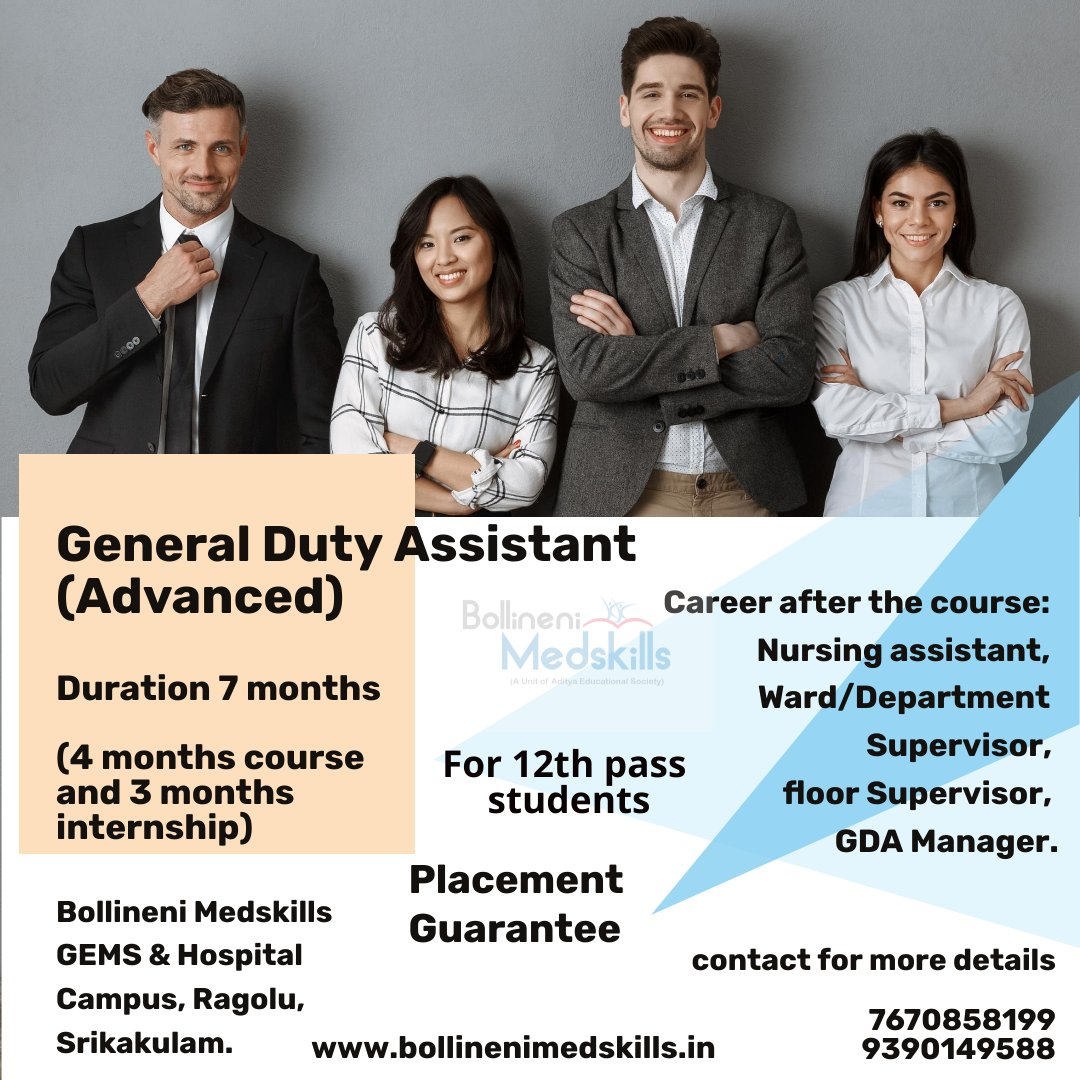 Make your career after 10+2. General Duty Assistant (Advanced) 7 months course (4 months training and 3 months internship) Placement guarantee. Registrations open now. Gems Hospital Campus, Ragolu, Srikakulam. For more details contact 7995013421, 7995013422 #MedicalStudent https://t.co/XGSyX0fMoi