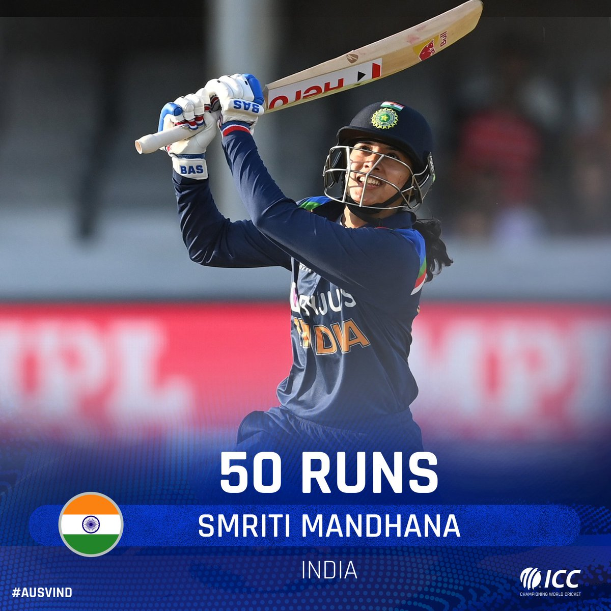 19th ODI fifty for Smriti Mandhana 👏  Can she convert it into triple figures?  📺 Watch the action on  (select regions) 🧮 Follow live:  | #AUSvIND