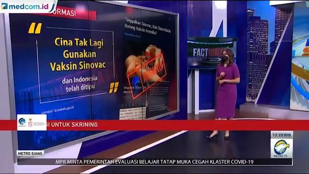 Berita bohong atau hoaks mengenai covid-19 dapat menghalangi penanggulangan pandemi. Salah satu berita bohong itu dinarasikan Indonesia ditipu karena Tiongkok sudah tidak menggunakan vaksin sinovac lagi  #MTVNAD @lawancovid19_id https://t.co/S0fOs3jMIR