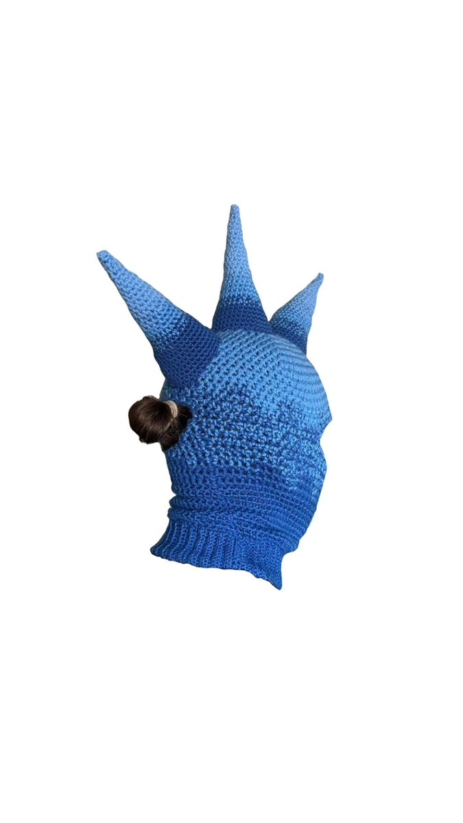 blue fade mohawk balaclava with hole to put ponytail/bun through. this was another commission