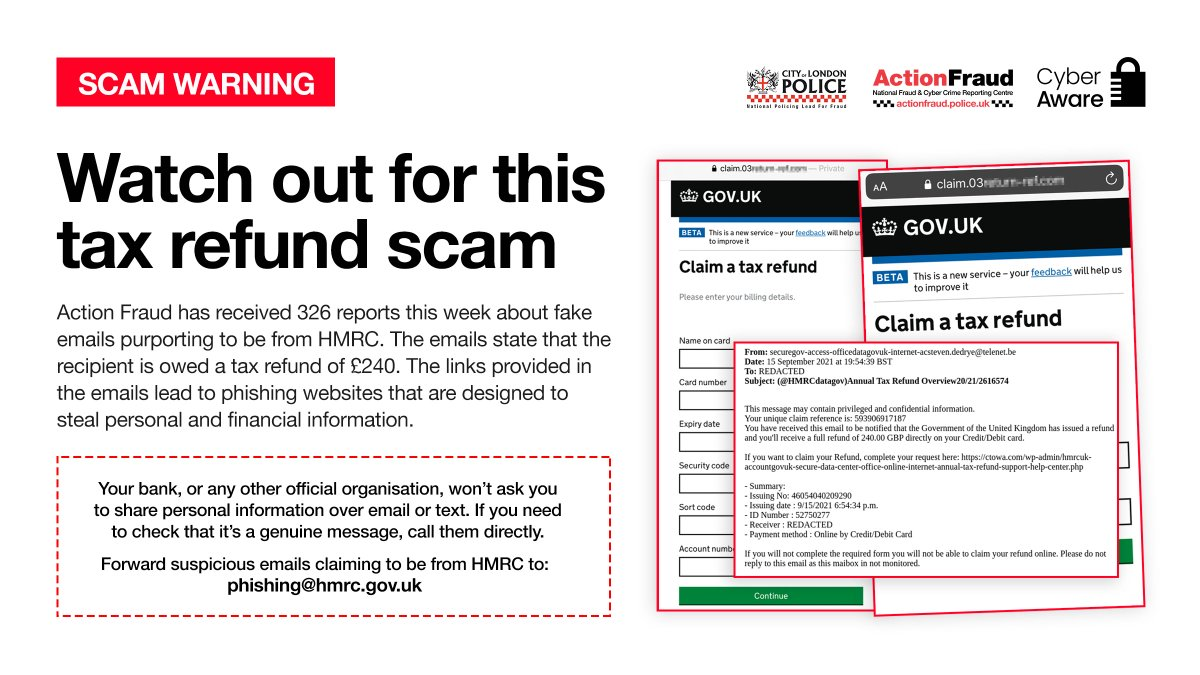 ⚠️Watch out for these FAKE @HMRCgovuk emails claiming that you are owed a tax refund! We have received 326 reports about them this week. HMRC urges people to be alert if they are contacted out of the blue by someone asking for money or personal information. #PhishyFridays