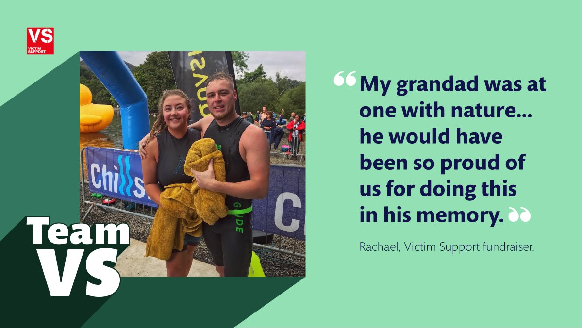After losing her grandad to murder, Rachael swam 5.25 miles in his memory, while fundraising for #Victimsupport. An enormous congratulations and a huge thank you for being part of #TeamVS and fundraising for us. Support Rachael's fundraising efforts ow.ly/LIlt50G9u5u