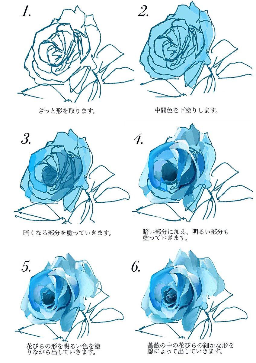 薔薇の描き方