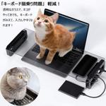 ネコがパソコンのキーボード乗れない台座、しかしモニターが見えない!