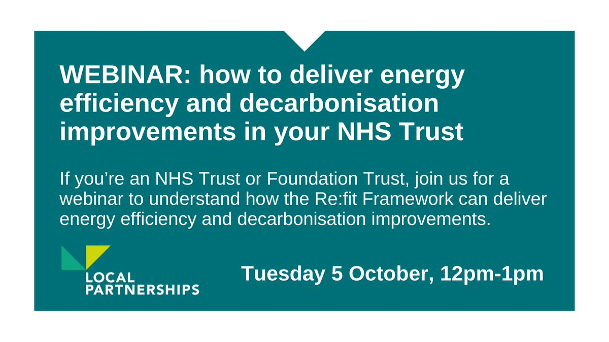 We look forward to working with @NHSEngland next week to provide a follow up briefing to all Trusts and Foundation Trusts on how to deliver energy efficiency and decarbonisation improvements across their estate using the Re:fit Framework. 👏