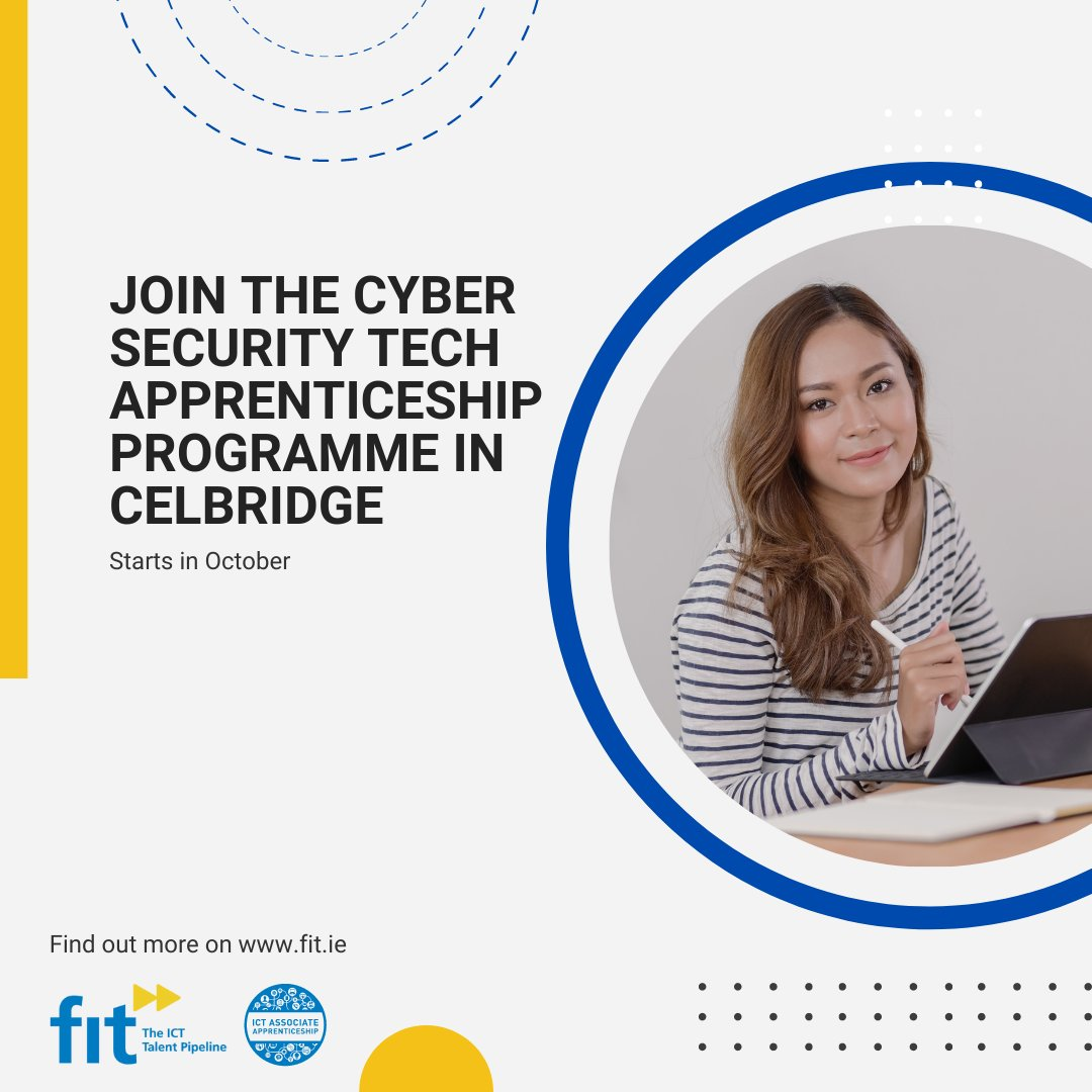 Last few places on the #CyberSecurity Apprenticeship in #Celbridge. With Cyber Security dominating the news recently & 90% of businesses claim to have seen a rise in #Cyberattacks in the last 12 mths, it's important to have a strong Cyber team to protect your business from attack