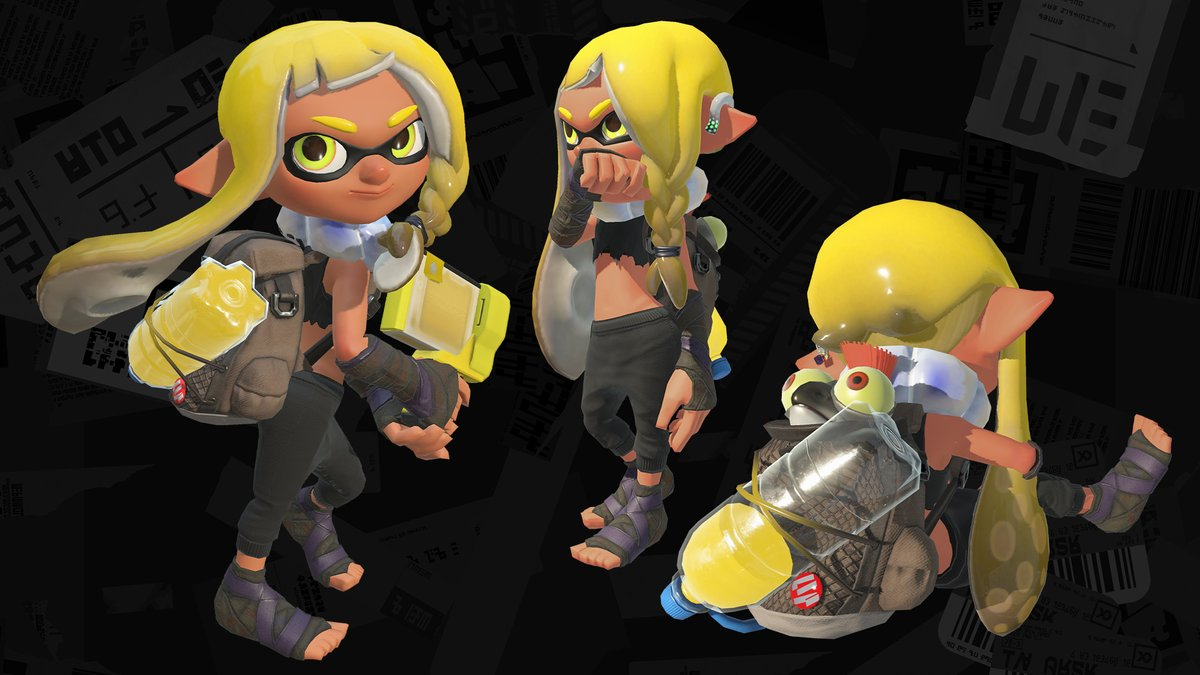 This is the Hero Suit worn by the new Agent 3. It's flexible enough to bust sweet moves in, yet it can withstand the harsh conditions of the Splatlands. Little buddy even fits in the pack! We noticed two styles in the video. Perhaps they're each suited to different situations? https://t.co/Ngb8uYZRun